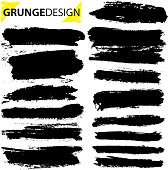 Set of grunge brush strokes. Paintbrush background for text. Vector design elements for banner, label, badge template, frame. pattern brush, background. Distress texture black stroke isolated on white