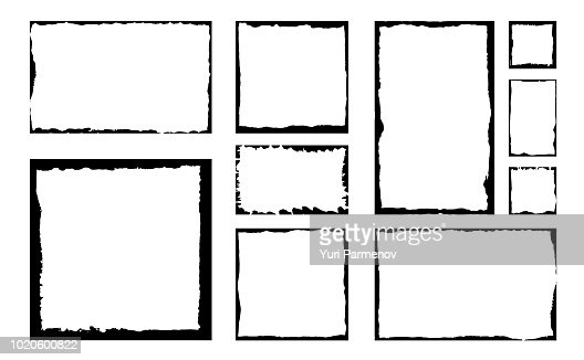 Set of grunge square frames. Empty border background. Hand draws black and white ink. Distress damaged edge vintage template. Brush stroke vector. : stock vector