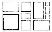 Set of grunge square frames. Empty border background. Hand draws black and white ink. Distress damaged edge vintage template.
