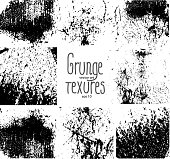 Set of eight grunge textures