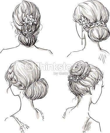 Set Of Hairstyles Bridal Hairdo Hand Drawn