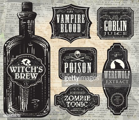 Set Of Halloween Printable Black And White Labels With