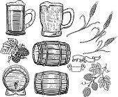 Set of hand drawn beer design elements. Hop, wheat, wood barrels, beer mugs. Design element for poster, card, menu, emblem, badge. Vector image