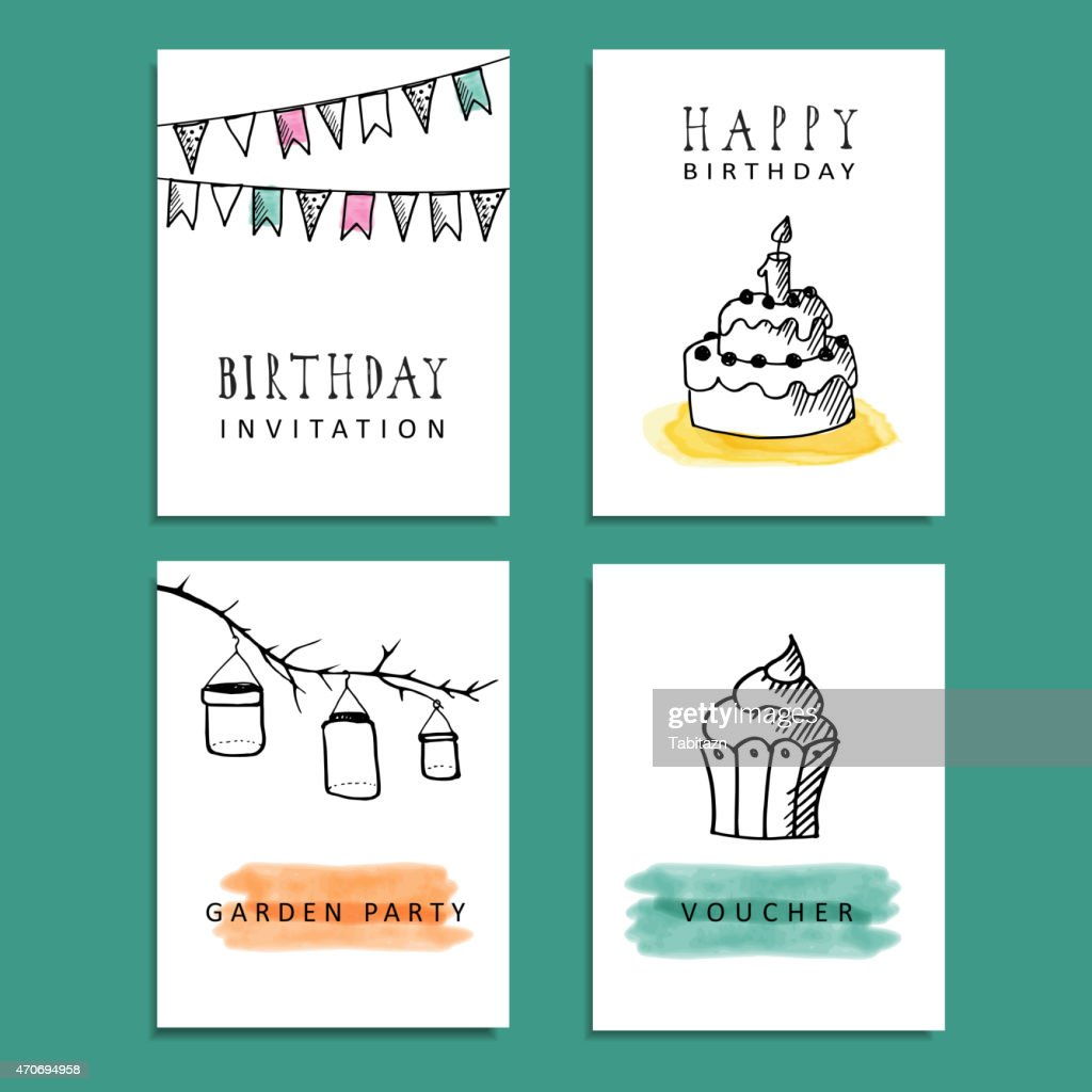 Set Of Hand Drawn Birthday Party Cards Vector Invitations Vector Art