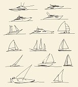 Set of hand drawn boats, vector illustration.