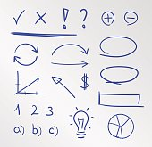 Set of hand drawn business doodles and sketches isolated on grey background.