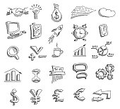 Set of hand drawn business icons. Vector illustration.