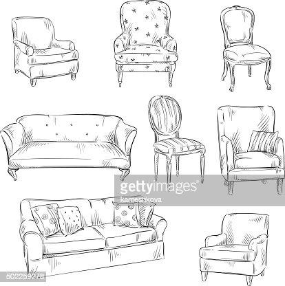 Stuhl bleistiftzeichnung  Satz Von Handdrawn Stühlen Und Sofas Vektorillustration ...