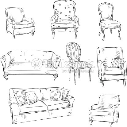 main dessin ensemble de chaises et de canap s illustration vectorielle clipart vectoriel. Black Bedroom Furniture Sets. Home Design Ideas