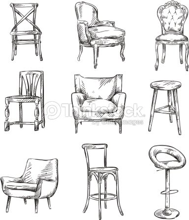 Set Of Hand Drawn Chairs Vector Art