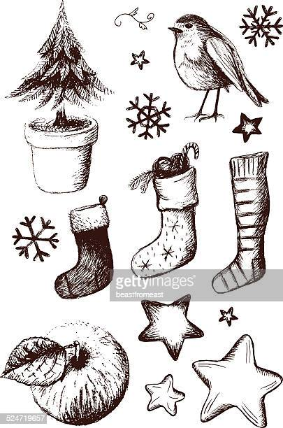 Set of hand drawn Christmas design elements: Robin, Christmas tree, Stockings