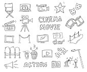 Cinema hand drawn decorative icons isolated. Set with clapperboard, camera, chairs, award, film strip, popcorn ticket and others. Vector illustration