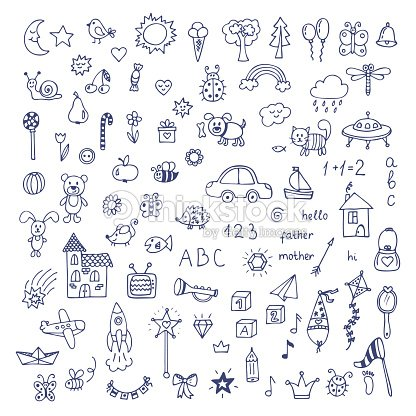 Set of hand drawn cute doodles. Doodle children drawing