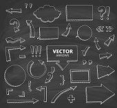 Set of hand drawn doodle arrows. Design elements on chalkboard background, vector illustration.