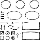 Set of hand drawn elements for selecting text. EPS10