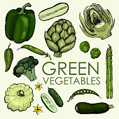 Collection of green vegetables for independent or joint use.