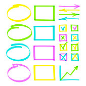Set of highlighter pen hand drawn elements. Realistic colorful highlight lines circle, oval and square, arrows, graph and check boxes with tick or cross vector hand drawings. Business illustration.