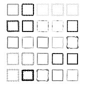 Set of hand drawn ink frames. Brush texture. Isolated.
