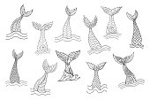 Set of hand drawn ornamental mermaid's tails. Doodle cartoon vector illustration isolated on white background. Coloring book pages for adult anti stress.