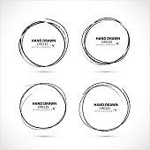 Set of Hand Drawn Scribble Circles, vector design elements.