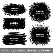 Set of Hand Drawn Scribble Shapes, vector design elements