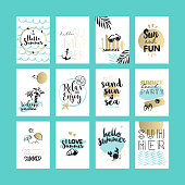 Set of hand drawn summer cards and banners. Vector illustrations for graphic and web design, for summer vacation, beach party, greeting cards, enjoying the sun and sea.