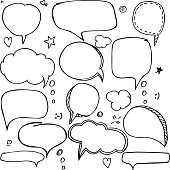 Doodle style comic balloon, cloud, heart shape design elements with message, greetings and sale ad.. Isolated vector.