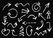 Hand drawn design elements. Vector collection on black board background.