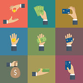 Set of hands holding Cash and Credit Card