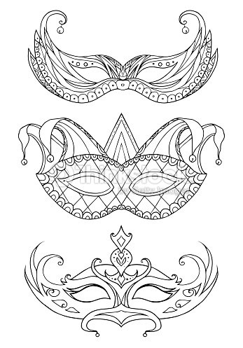 set of handdrawn doodle face masks festival mardi gras vector art