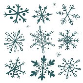 Set of original hand-drawn snowflakes. Great for christmas cards, invitations, decoration, wrapping paper etc.
