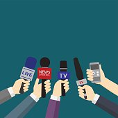 Set of Hands Holding Microphones and Digital Voice Recorder, journalism concept, journalist take an interview