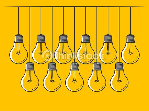 Set Of Hanging Light Bulbs On Yellow Background Innovation Symbol