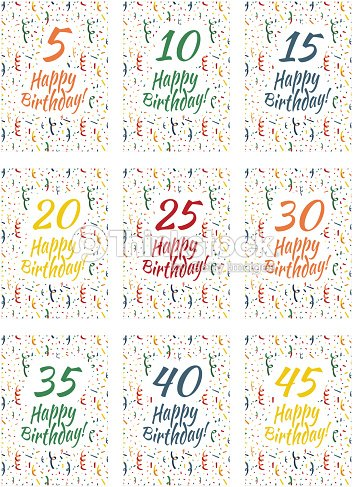 set of happy birthday card covers for anniversary 510 vector art