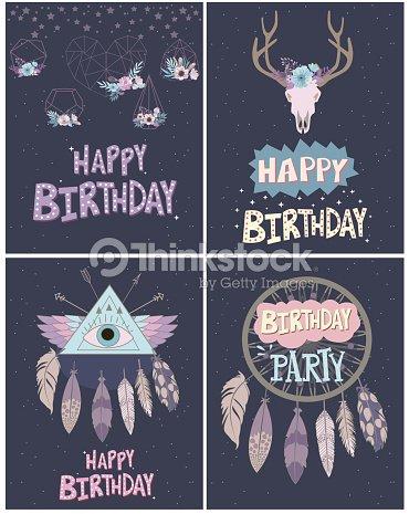 Satz Von Happy Birthday Card Im Boheme Stil Vektorgrafik