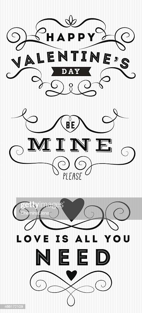 Satz Von Happy Valentinstag Hand Schriftzug : Vektorgrafik