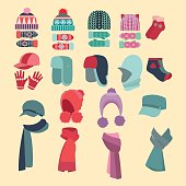 Set Vector collection of knitted woolen Hat and mittens. Winter hat, scarves and mittens vector illustration set winter icons.