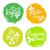 Set of Healthy and Organic Food label. Font with Brush. Food Intolerance Symbols and Badges. Vector illustration icon.