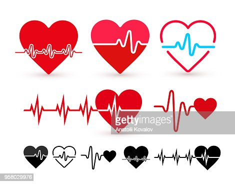 Set of Heartbeat icon, health monitor, health care. Flat design. Vector illustration. Isolated on white background : Vector Art