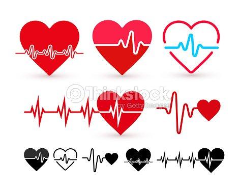 Jeu d'icône de battement de coeur, moniteur de la santé, les soins de santé. Design plat. Illustration vectorielle. Isolé sur fond blanc : clipart vectoriel