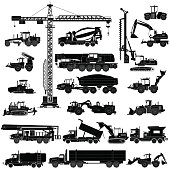 Set of heavy construction machines silhouettes, icons, isolated on white. Vector illustration of heavy equipment and machinery. Icons, flat style
