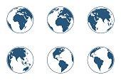 Set of high detailed vector globes. Vector illustration.