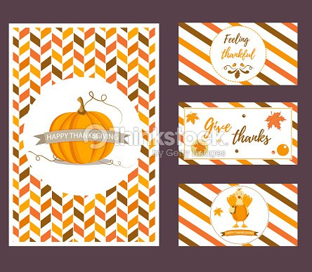 Set of holiday Thanksgiving backgrounds with different elements