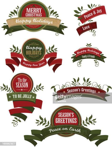 Set of Holiday themed crests ribbons and laurels