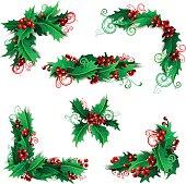 Christmas vintage design elements isolated on white background.