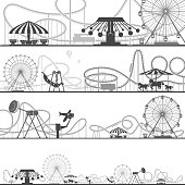 Set of horizontal amusement park silhouettes. Vector illustrations of roller coasters. Amusement black silhouette park