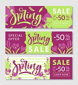 Set of horizontal spring banners. Calligraphic hand written text and flowers.