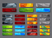 Set of horizontal web banners with multicolored polygonal abstract background. A template with a button and various geometric shapes for text,