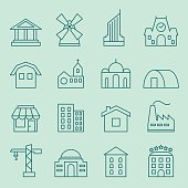 Set of house icons. Flat design. Thin lines