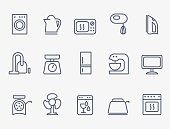 Set of household appliances icons. Thin lines.